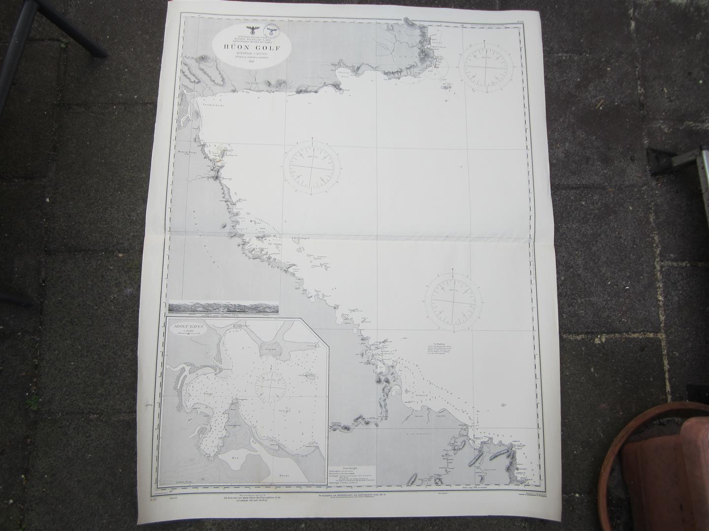 WW2 KM Sea Chart HUON GOLF, South Pacific